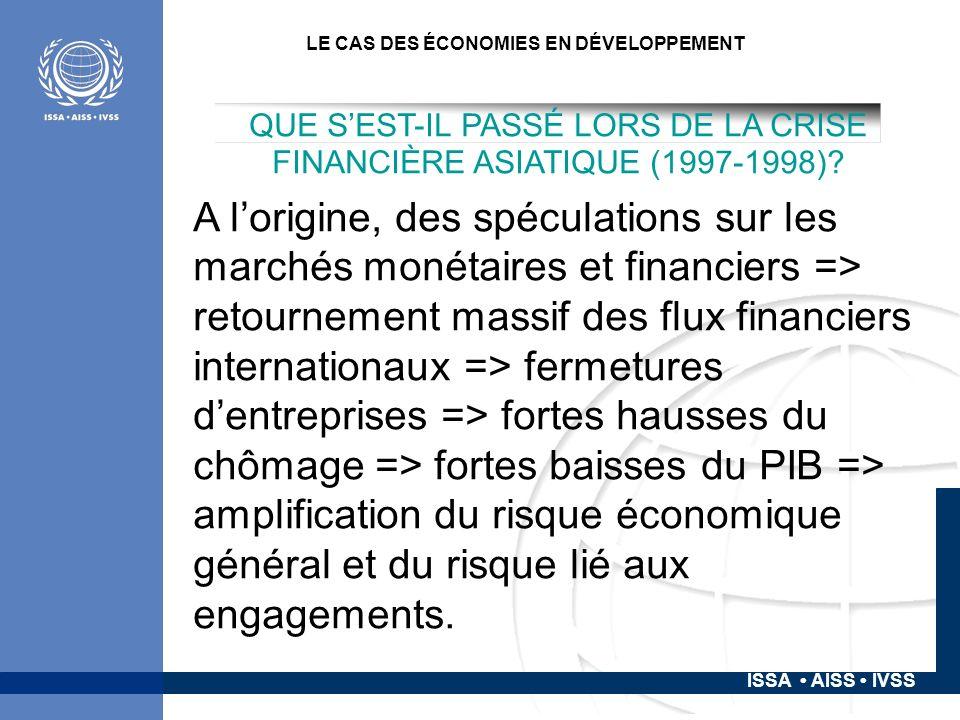 ISSA AISS IVSS LE CAS DES ÉCONOMIES EN DÉVELOPPEMENT QUE SEST-IL PASSÉ LORS DE LA CRISE FINANCIÈRE ASIATIQUE (1997-1998).