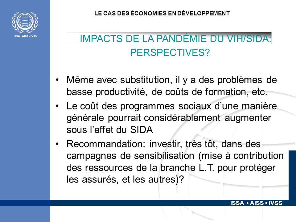 ISSA AISS IVSS LE CAS DES ÉCONOMIES EN DÉVELOPPEMENT IMPACTS DE LA PANDÉMIE DU VIH/SIDA: PERSPECTIVES.