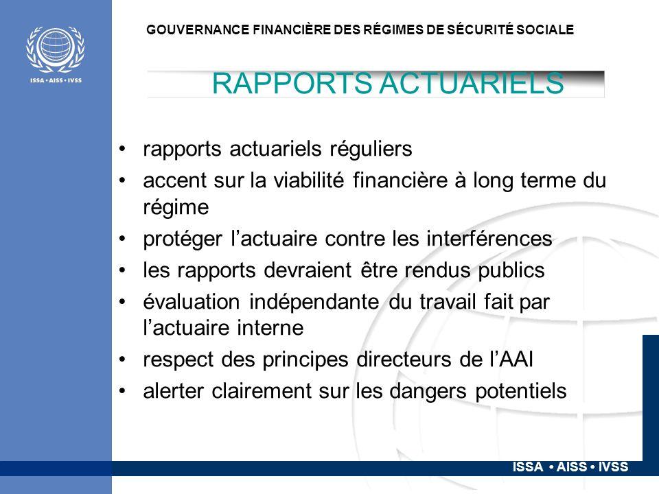 ISSA AISS IVSS GOUVERNANCE FINANCIÈRE DES RÉGIMES DE SÉCURITÉ SOCIALE: LE CAS DES ÉCONOMIES EN DÉVELOPPEMENT RÉFÉRENCES BIT et AISS.