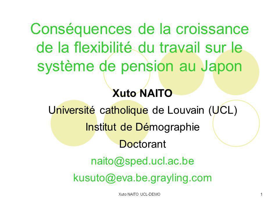 Xuto NAITO UCL-DEMO12 Conséquences de la croissance de flexibilité du travail sur le système de pension au Japon 1 : Entre mythes et réalités 2 : Flexibilité chez les jeunes (15-34 ans) 3 : « Seken » comme approche à revisiter 4 : Pistes directes et indirectes