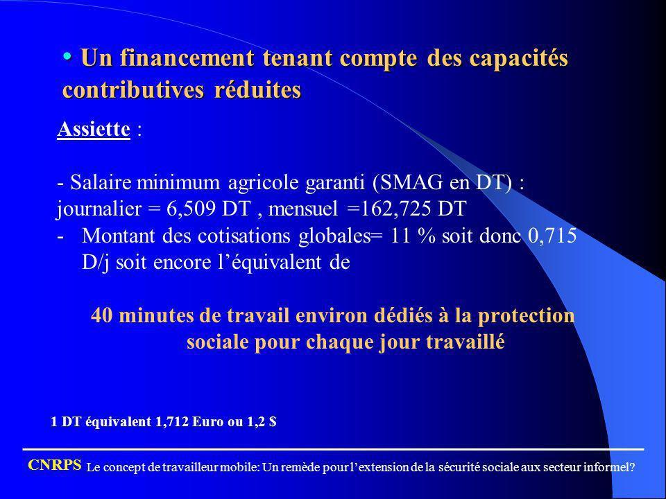 Un financement tenant compte des capacités contributives réduites Un financement tenant compte des capacités contributives réduites Assiette : - Salai