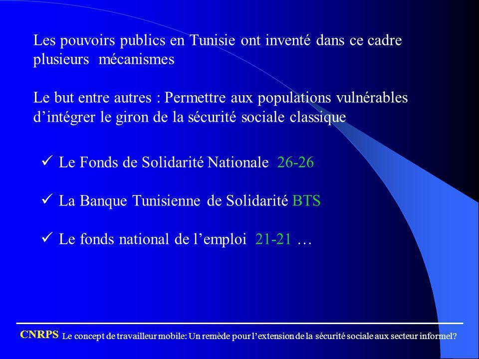 Les pouvoirs publics en Tunisie ont inventé dans ce cadre plusieurs mécanismes Le but entre autres : Permettre aux populations vulnérables dintégrer l
