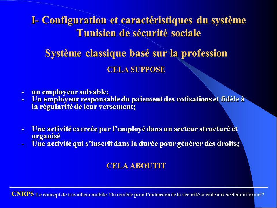 I- Configuration et caractéristiques du système Tunisien de sécurité sociale Système classique basé sur la profession CELA SUPPOSE -un employeur solva