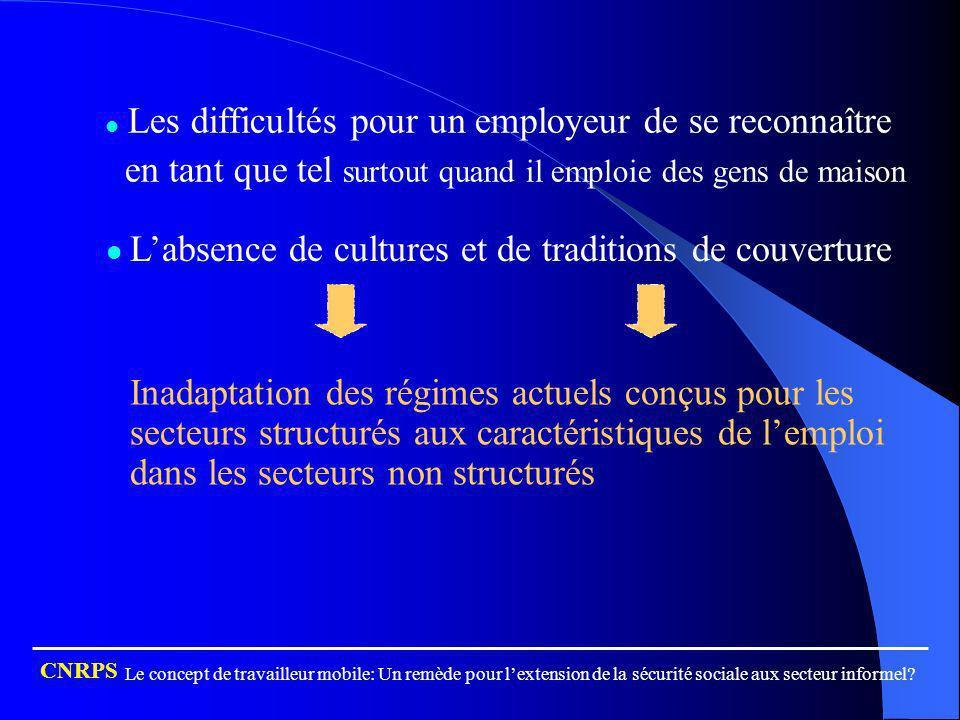Les difficultés pour un employeur de se reconnaître en tant que tel surtout quand il emploie des gens de maison Labsence de cultures et de traditions