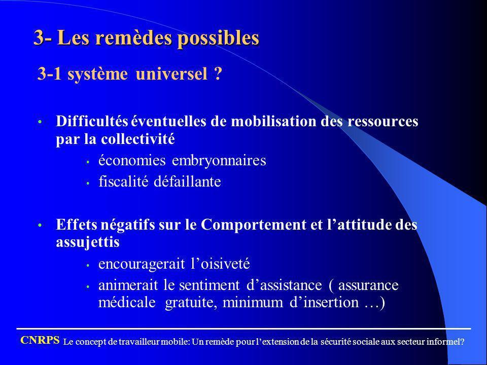 3- Les remèdes possibles 3-1 système universel ? Difficultés éventuelles de mobilisation des ressources par la collectivité économies embryonnaires fi