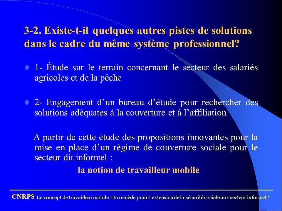 3-2. Existe-t-il quelques autres pistes de solutions dans le cadre du même système professionnel? 1- Étude sur le terrain concernant le secteur des sa