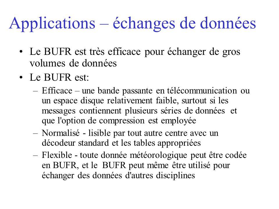 Applications – échanges de données Le BUFR est très efficace pour échanger de gros volumes de données Le BUFR est: –Efficace – une bande passante en télécommunication ou un espace disque relativement faible, surtout si les messages contiennent plusieurs séries de données et que l option de compression est employée –Normalisé - lisible par tout autre centre avec un décodeur standard et les tables appropriées –Flexible - toute donnée météorologique peut être codée en BUFR, et le BUFR peut même être utilisé pour échanger des données d autres disciplines