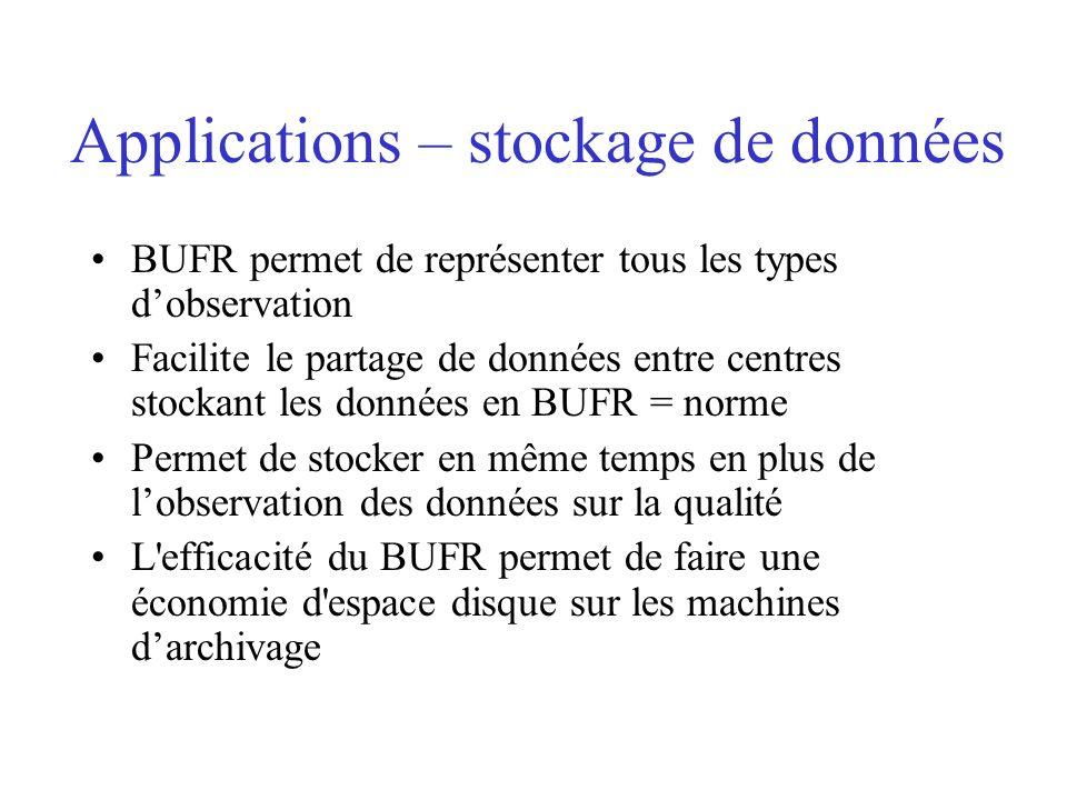 Applications – stockage de données BUFR permet de représenter tous les types dobservation Facilite le partage de données entre centres stockant les données en BUFR = norme Permet de stocker en même temps en plus de lobservation des données sur la qualité L efficacité du BUFR permet de faire une économie d espace disque sur les machines darchivage
