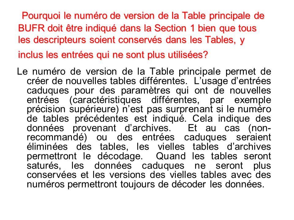 : Pourquoi le numéro de version de la Table principale de BUFR doit être indiqué dans la Section 1 bien que tous les descripteurs soient conservés dans les Tables, y inclus les entrées qui ne sont plus utilisées.