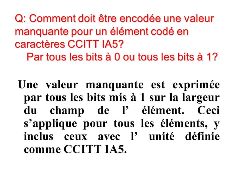 Q: Comment doit être encodée une valeur manquante pour un élément codé en caractères CCITT IA5.