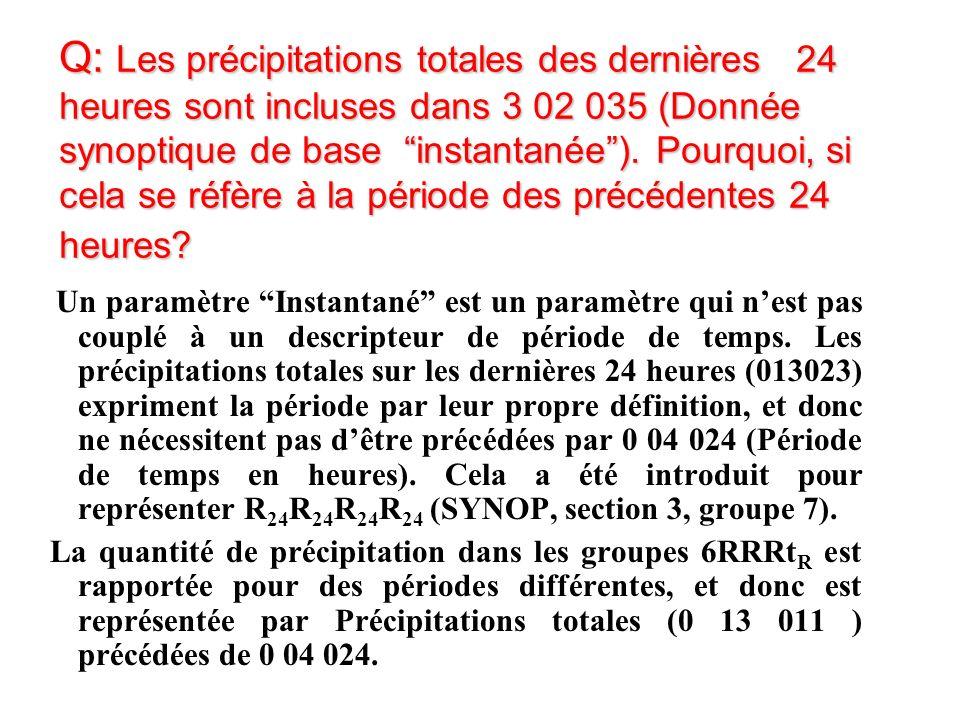 Q: Les précipitations totales des dernières 24 heures sont incluses dans 3 02 035 (Donnée synoptique de base instantanée).