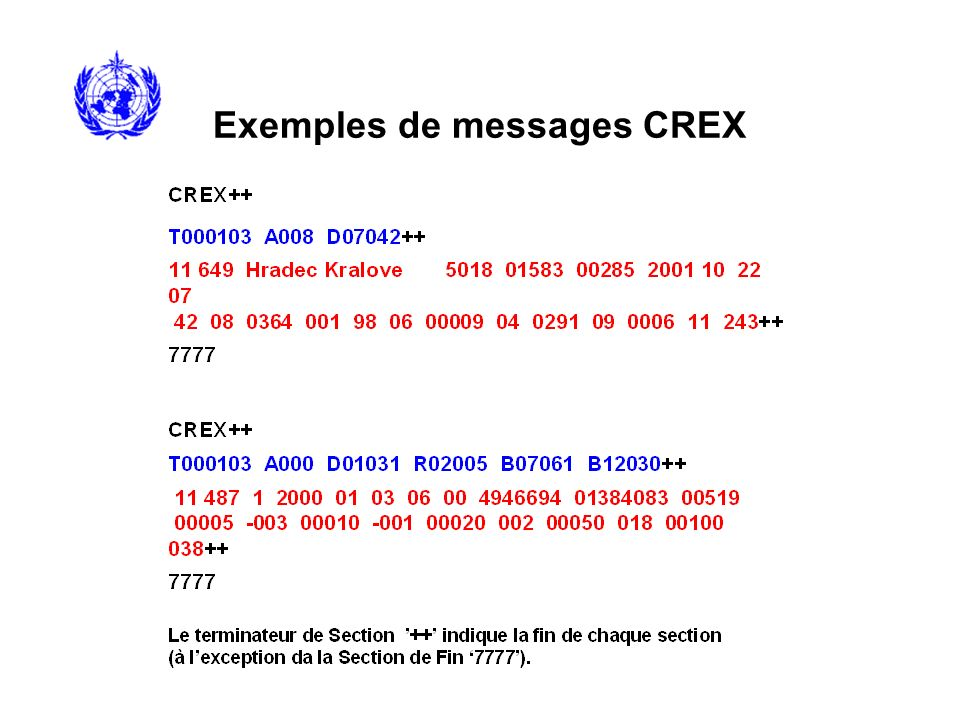 CREX Table C - Descripteurs dopérations La Table C CREX définit les descripteurs dopérations Cxxyyy: xx – Opérateur yyy – Opérande C01yyy – Changement de la largeur de champ à yyy C02yyy – Changement du facteur déchelle à yyy C05yyy – Insertion de yyy caractère(s) C07yyy – Changement à la nouvelle unité yyy (définie dans la Table Commune C-6) Example: C07201 change lunité (e.g.