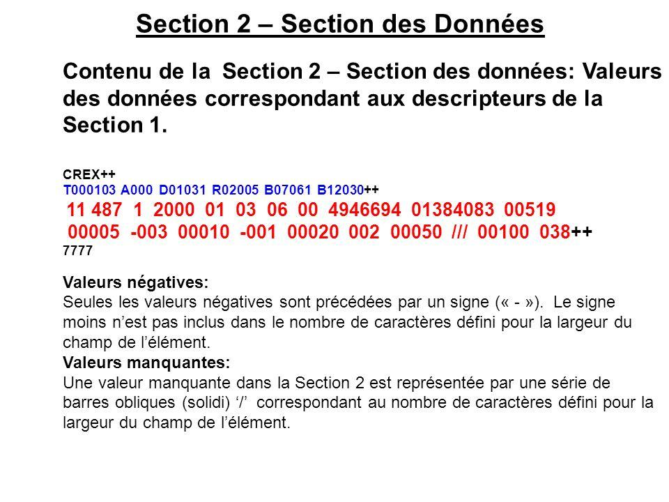 Section 2 – Section des Données Contenu de la Section 2 – Section des données: Valeurs des données correspondant aux descripteurs de la Section 1. CRE