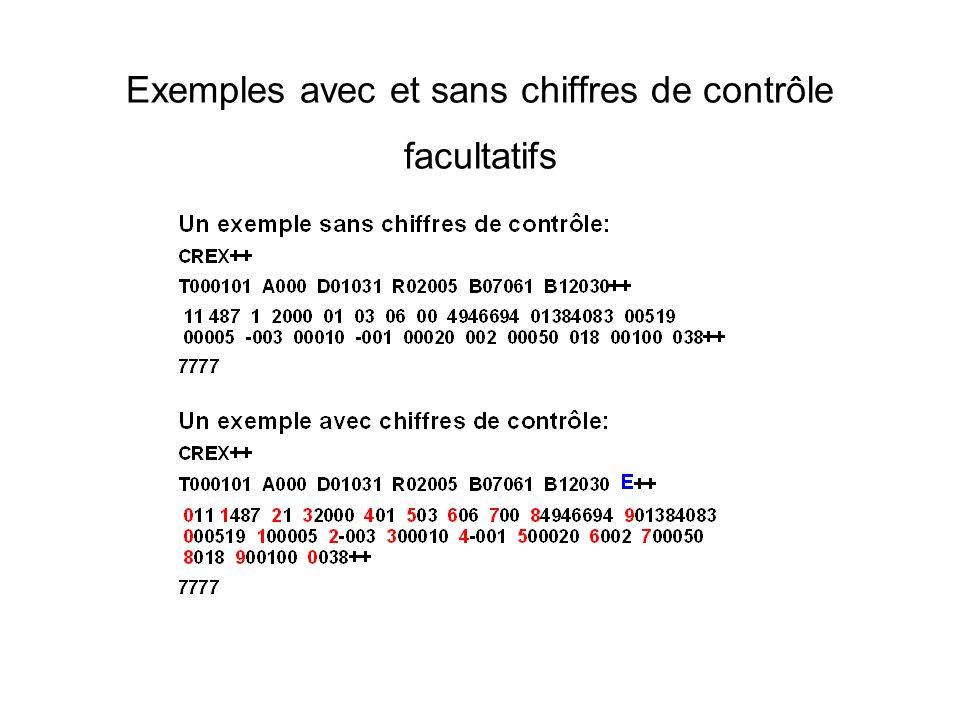 Exemples avec et sans chiffres de contrôle facultatifs