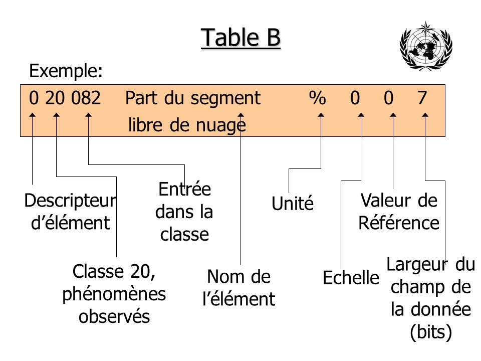 Table B Autre exemple: 0 07 010 Niveau de vol m 0 -1024 16 Largeur du champ de la donnée (bits) Nom de lélément Descripteur délément Unité Classe 07, Position (verticale) Valeur de Référence Echelle Entrée dans la classe