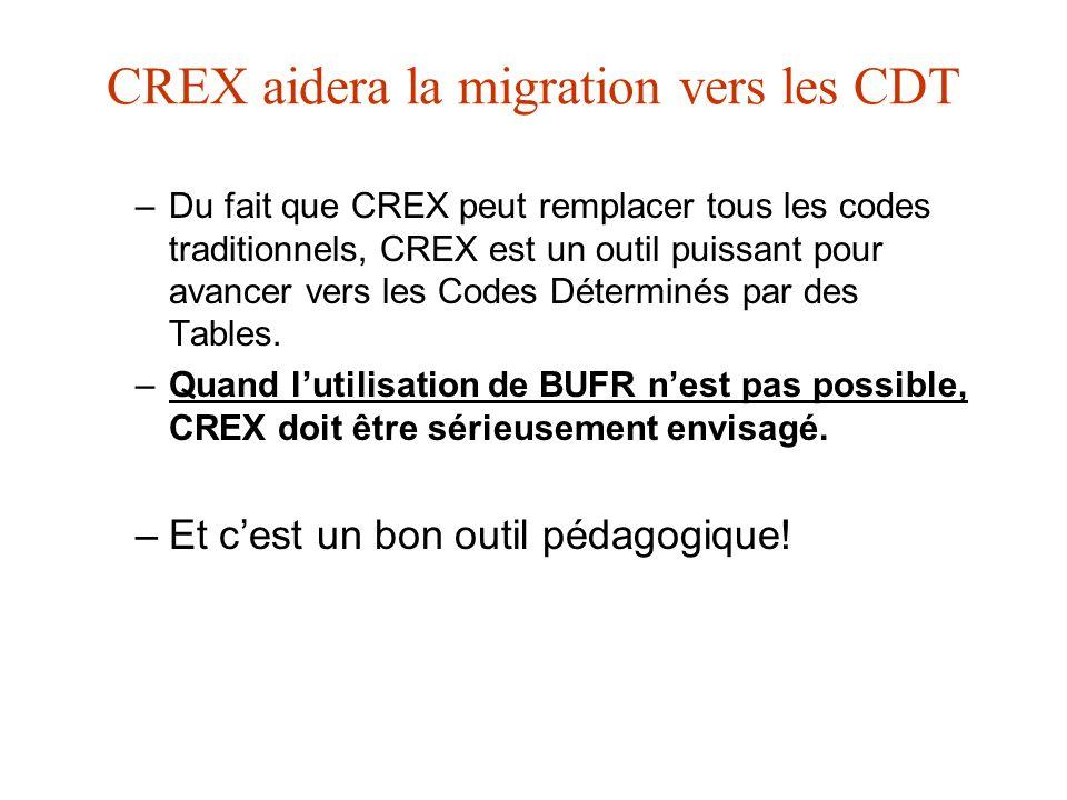 CREX aidera la migration vers les CDT –Du fait que CREX peut remplacer tous les codes traditionnels, CREX est un outil puissant pour avancer vers les