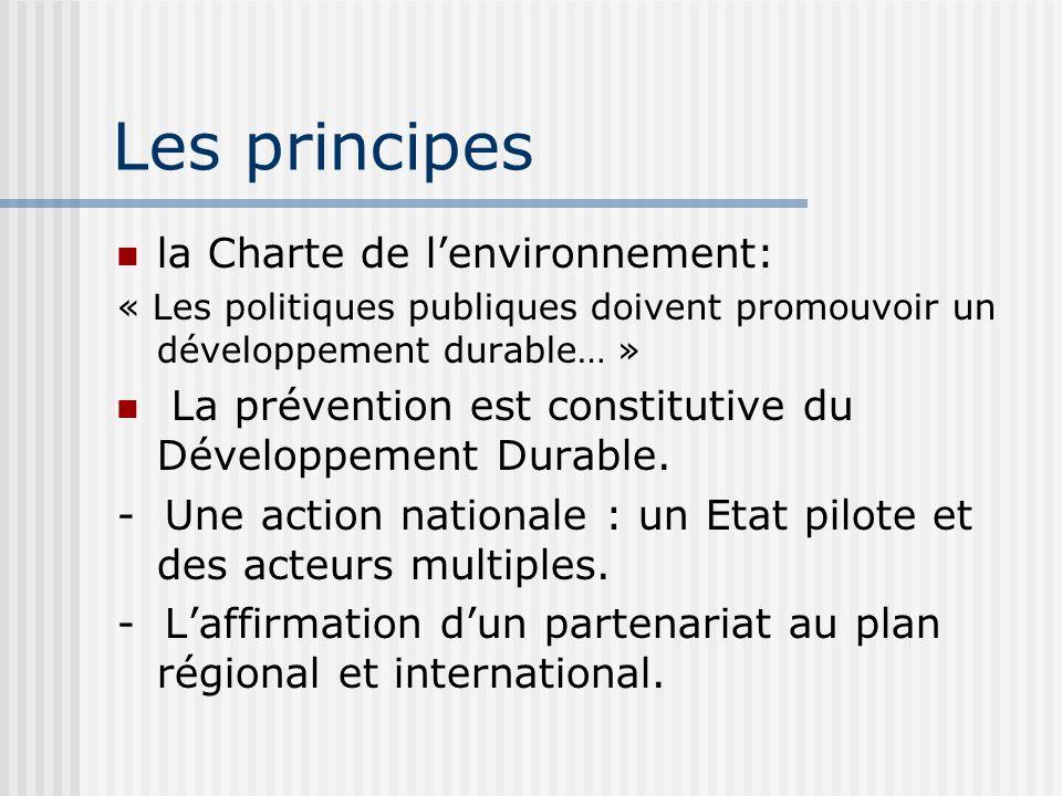 Les principes la Charte de lenvironnement: « Les politiques publiques doivent promouvoir un développement durable… » La prévention est constitutive du