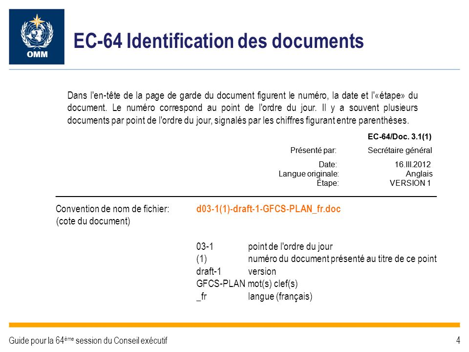 EC-64 Structure des documents Page de garde: intitulé du point de l ordre du jour, intitulé du document et résumé des décisions requises.