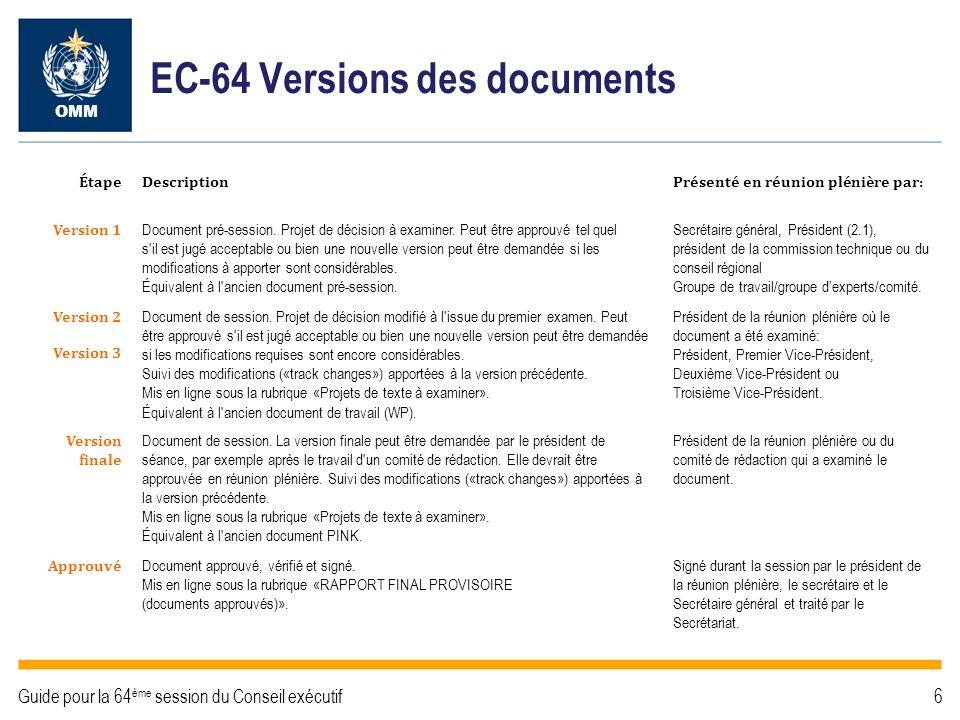 EC-64 Circulation des documents Version 1 Approuvée OMM Guide pour la 64 ème session du Conseil exécutif7 RÉUNION PLÉNIÈRE Documents approuvés – Rapport final provisoire