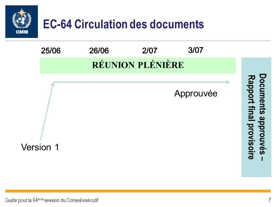 Version 2 Version 1 EC-64 Circulation des documents Approuvée OMM Guide pour la 64 ème session du Conseil exécutif8 RÉUNION PLÉNIÈRE Documents approuvés – Rapport final provisoire