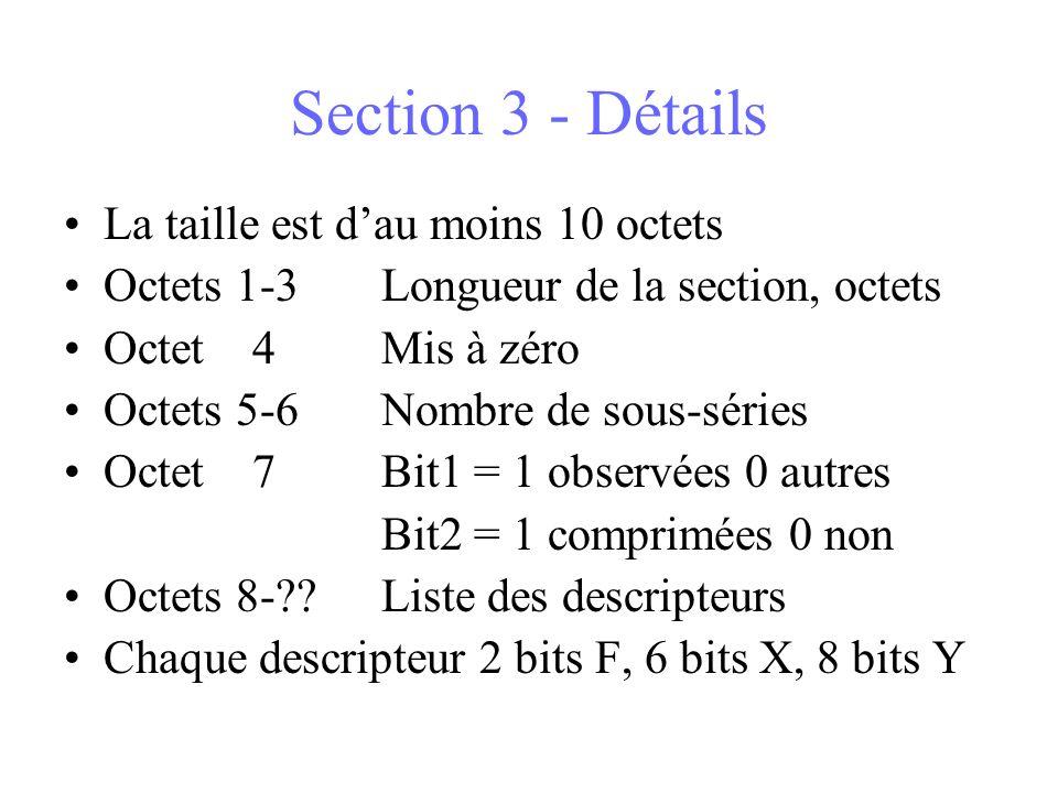 Section 3 - Détails La taille est dau moins 10 octets Octets 1-3Longueur de la section, octets Octet 4Mis à zéro Octets 5-6Nombre de sous-séries Octet 7Bit1 = 1 observées 0 autres Bit2 = 1 comprimées 0 non Octets 8-??Liste des descripteurs Chaque descripteur 2 bits F, 6 bits X, 8 bits Y
