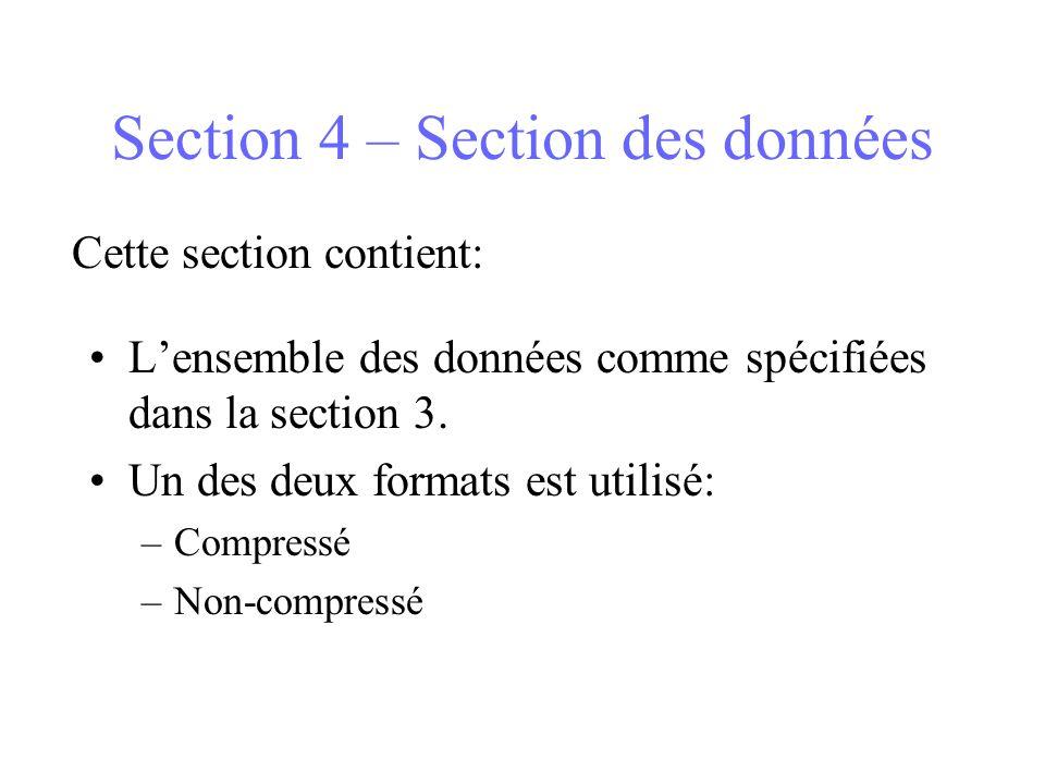 Section 4 – Section des données Lensemble des données comme spécifiées dans la section 3. Un des deux formats est utilisé: –Compressé –Non-compressé C