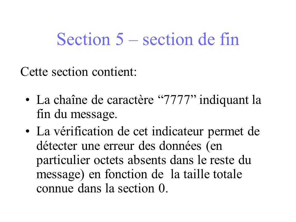 Section 5 – section de fin La chaîne de caractère 7777 indiquant la fin du message. La vérification de cet indicateur permet de détecter une erreur de