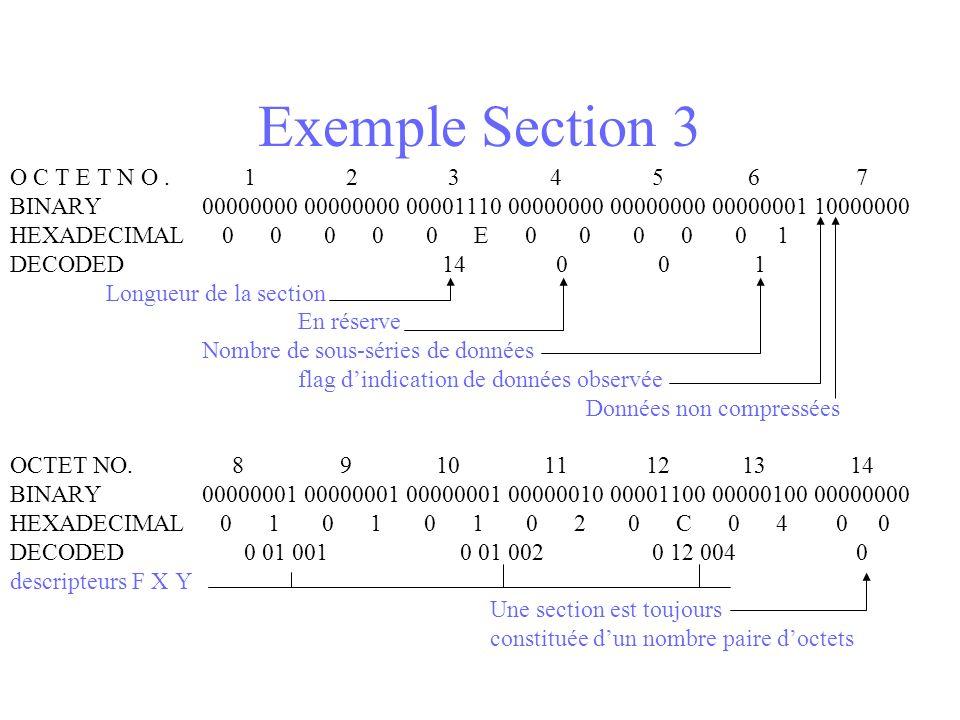 Exemple Section 3 O C T E T N O. 1 2 3 4 5 6 7 BINARY 00000000 00000000 00001110 00000000 00000000 00000001 10000000 HEXADECIMAL 0 0 0 0 0 E 0 0 0 0 0
