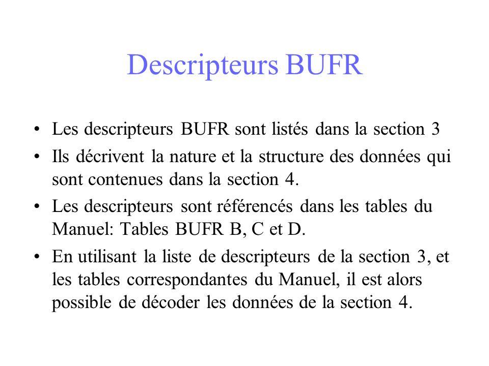 Descripteurs BUFR Les descripteurs BUFR sont listés dans la section 3 Ils décrivent la nature et la structure des données qui sont contenues dans la section 4.