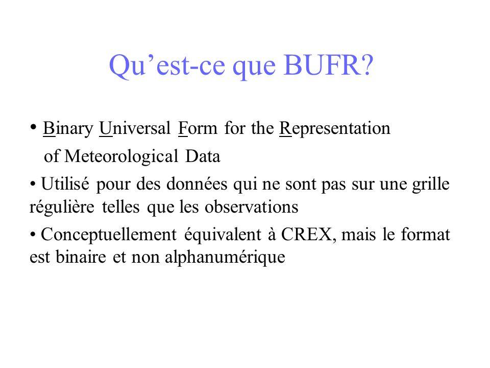 Quest-ce que BUFR? Binary Universal Form for the Representation of Meteorological Data Utilisé pour des données qui ne sont pas sur une grille réguliè