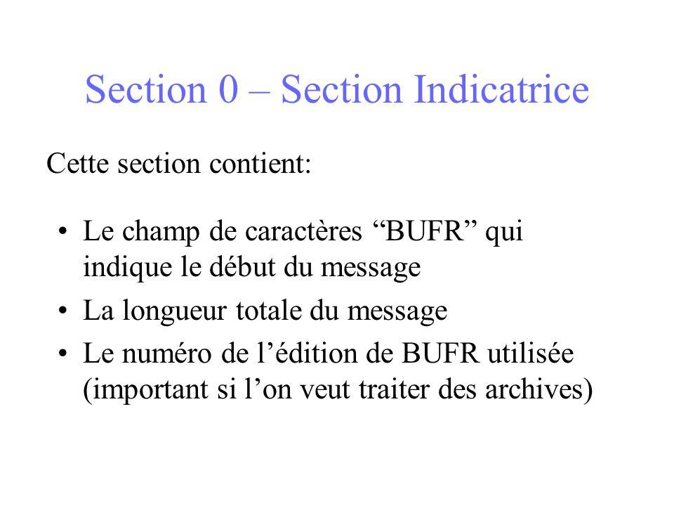 Section 0 – Section Indicatrice Le champ de caractères BUFR qui indique le début du message La longueur totale du message Le numéro de lédition de BUFR utilisée (important si lon veut traiter des archives) Cette section contient: