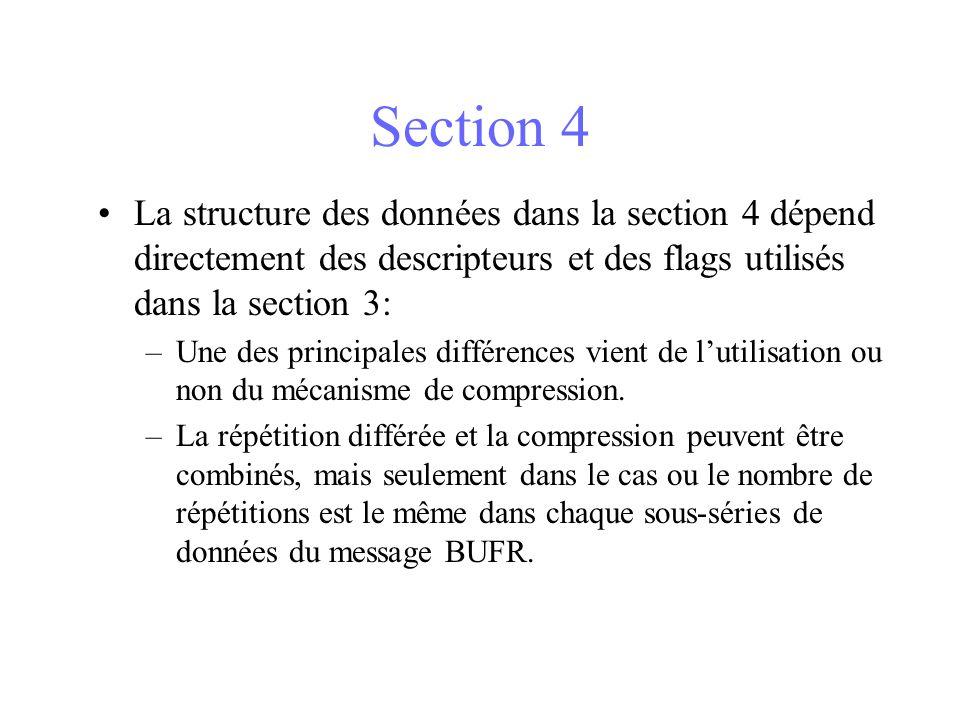 Section 4 La structure des données dans la section 4 dépend directement des descripteurs et des flags utilisés dans la section 3: –Une des principales différences vient de lutilisation ou non du mécanisme de compression.
