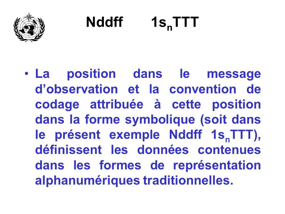 Nddff 1s n TTT La position dans le message dobservation et la convention de codage attribuée à cette position dans la forme symbolique (soit dans le p