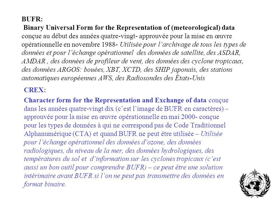 BUFR: Binary Universal Form for the Representation of (meteorological) data conçue au début des années quatre-vingt- approuvée pour la mise en œuvre o