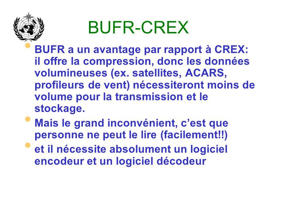 BUFR-CREX BUFR a un avantage par rapport à CREX: il offre la compression, donc les données volumineuses (ex. satellites, ACARS, profileurs de vent) né