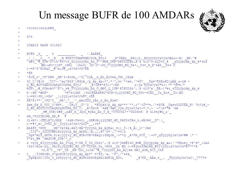 Un message BUFR de 100 AMDARs 0306301824LFPW_ 374 IUAX02 KARP 301820 BUFR _ú_ _ 8 _________ _ ! ÁAÁBË_ _!_!___C__ __ë _¾ FNETYTBAFNMEISJA_ÉÒjJ _é³ÒPåµ