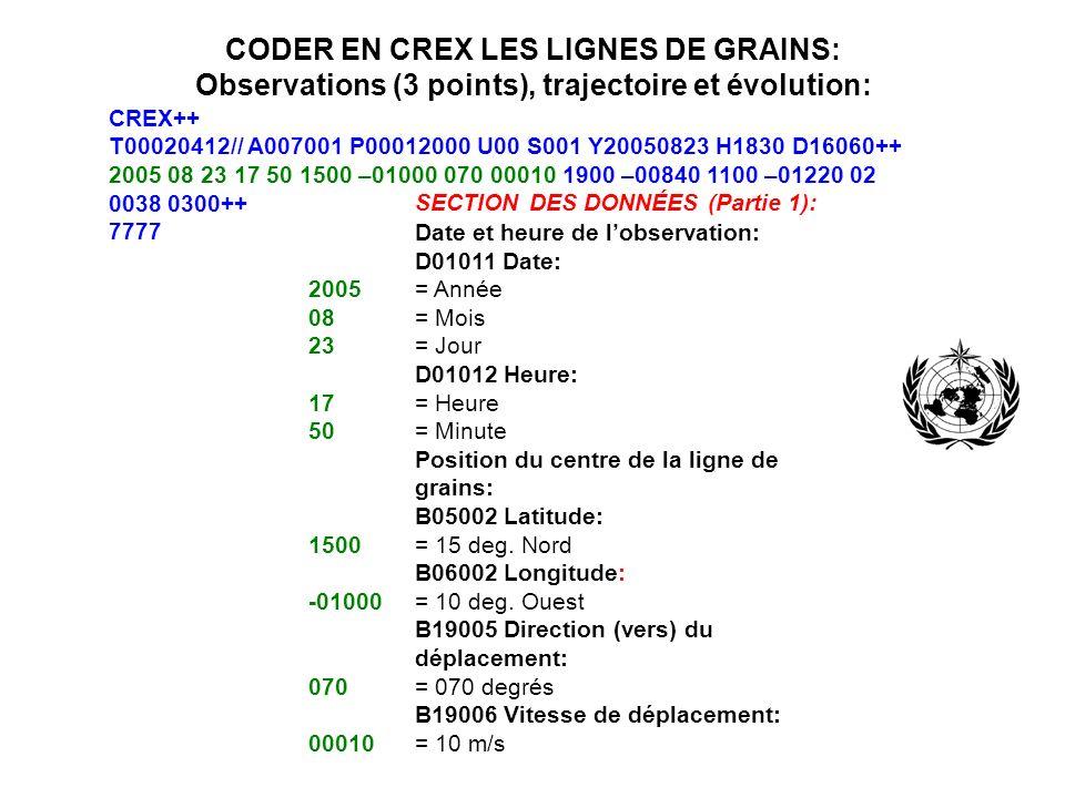 CODER EN CREX LES LIGNES DE GRAINS: Observations (3 points), trajectoire et évolution: CREX++ T00020412// A007001 P00012000 U00 S001 Y20050823 H1830 D