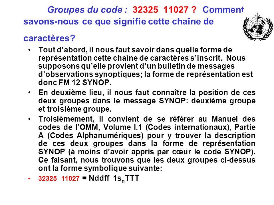 Groupes du code : 32325 11027 ? Comment savons-nous ce que signifie cette chaîne de caractères? Tout dabord, il nous faut savoir dans quelle forme de