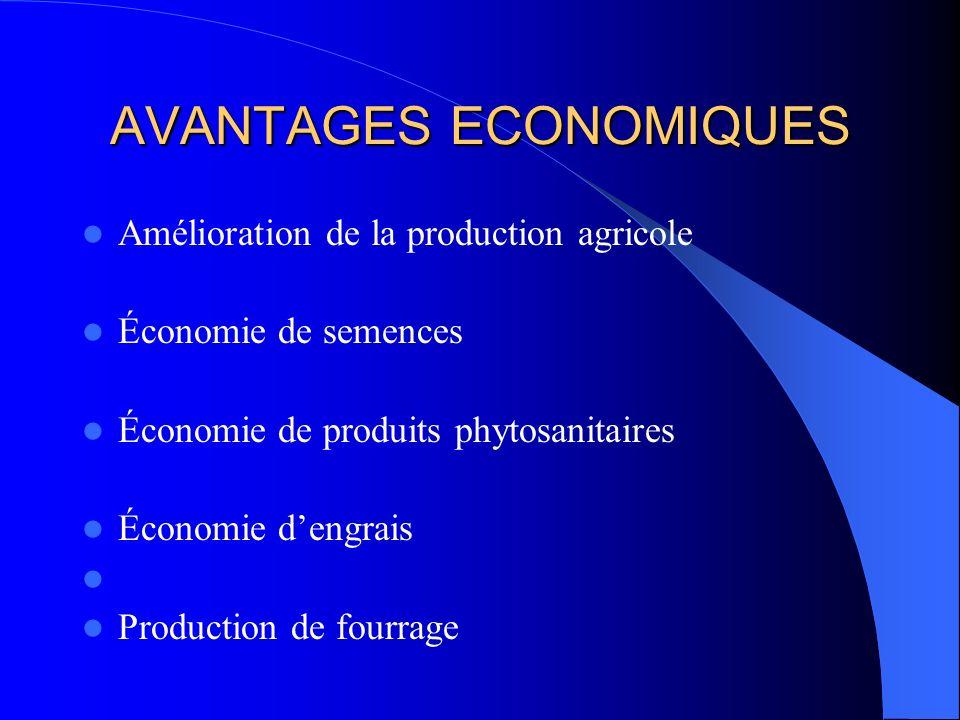 AVANTAGES ECONOMIQUES Amélioration de la production agricole Économie de semences Économie de produits phytosanitaires Économie dengrais Production de