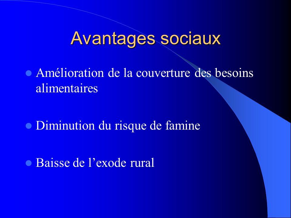 Avantages sociaux Amélioration de la couverture des besoins alimentaires Diminution du risque de famine Baisse de lexode rural
