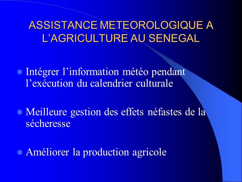 ASSISTANCE METEOROLOGIQUE A LAGRICULTURE AU SENEGAL Intégrer linformation météo pendant lexécution du calendrier culturale Meilleure gestion des effet