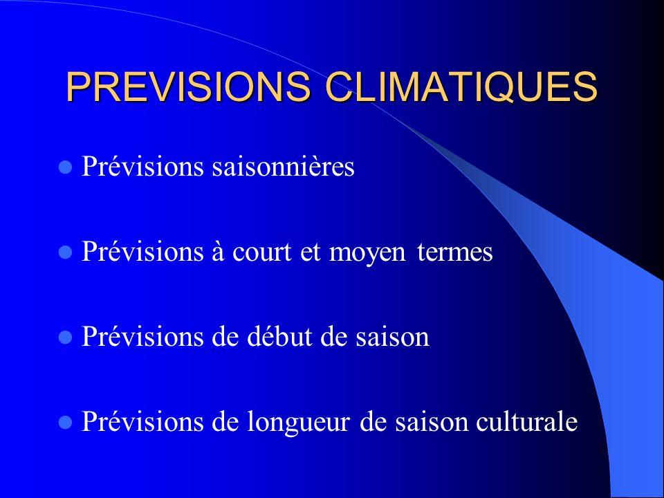 PREVISIONS CLIMATIQUES Prévisions saisonnières Prévisions à court et moyen termes Prévisions de début de saison Prévisions de longueur de saison cultu