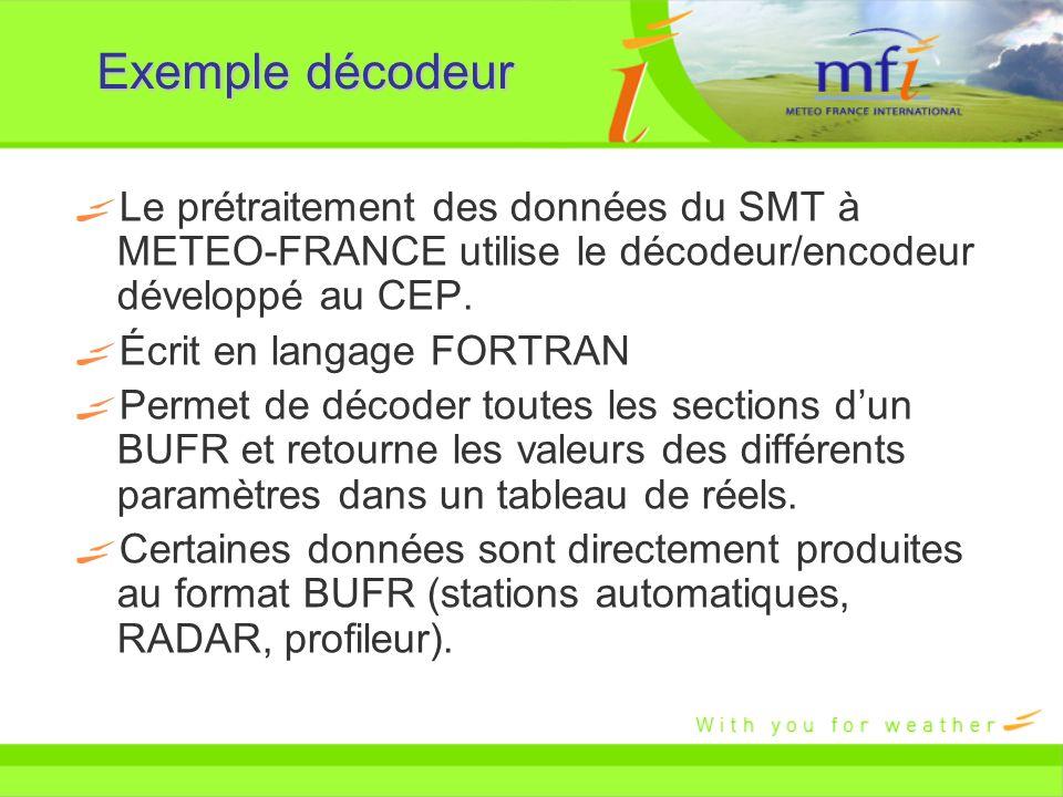 Exemple décodeur Le prétraitement des données du SMT à METEO-FRANCE utilise le décodeur/encodeur développé au CEP. Écrit en langage FORTRAN Permet de