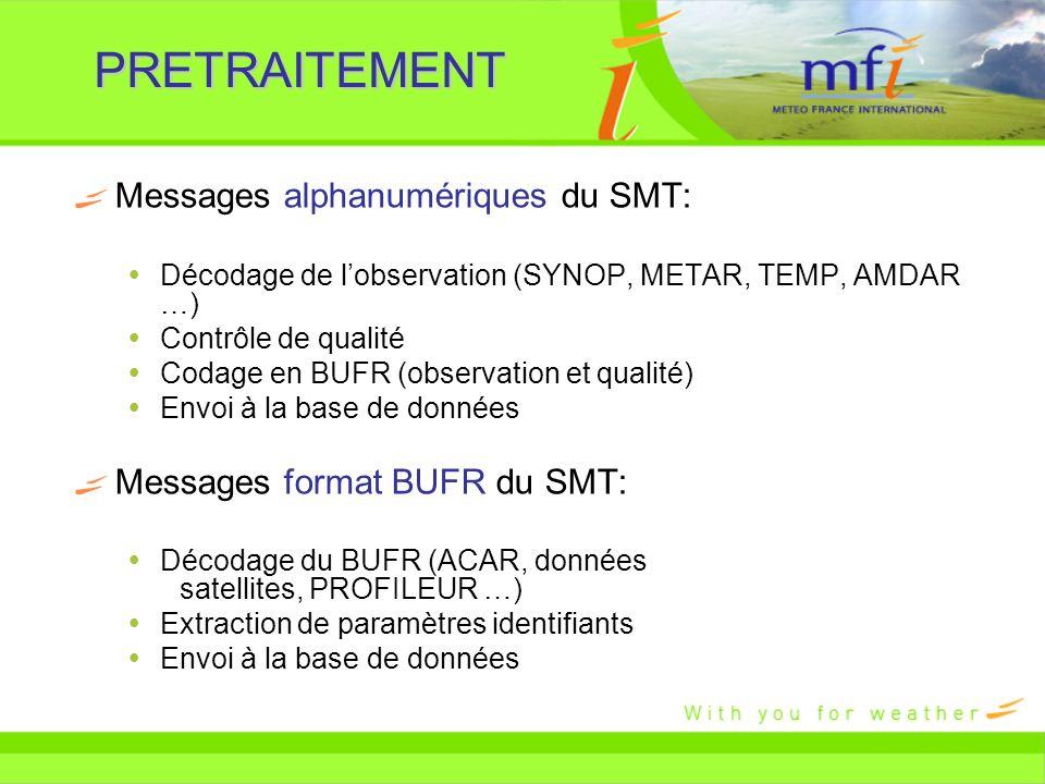 PRETRAITEMENT Messages alphanumériques du SMT: Décodage de lobservation (SYNOP, METAR, TEMP, AMDAR …) Contrôle de qualité Codage en BUFR (observation