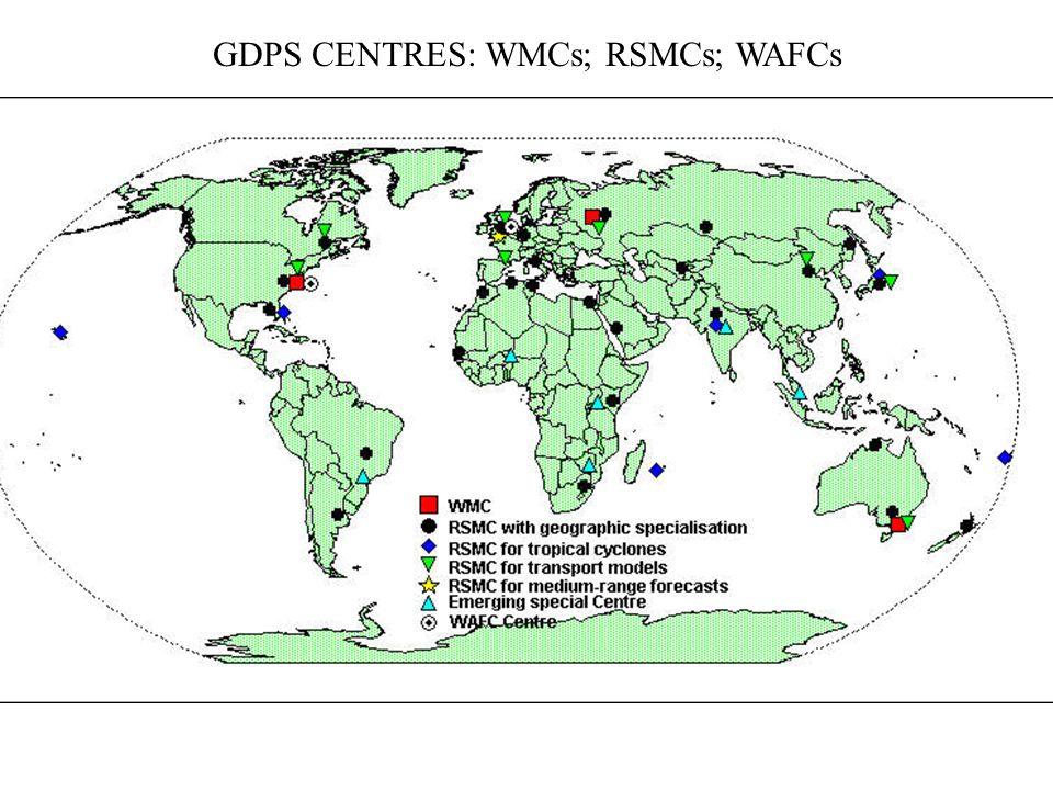 GDPS CENTRES: WMCs; RSMCs; WAFCs