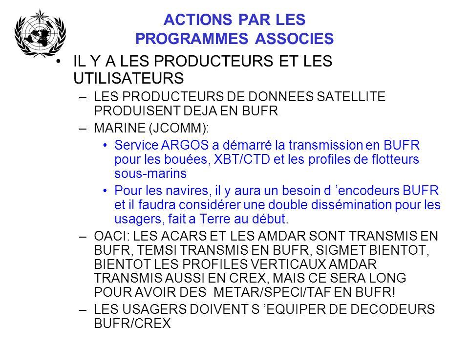 ACTIONS PAR LES PROGRAMMES ASSOCIES IL Y A LES PRODUCTEURS ET LES UTILISATEURS –LES PRODUCTEURS DE DONNEES SATELLITE PRODUISENT DEJA EN BUFR –MARINE (