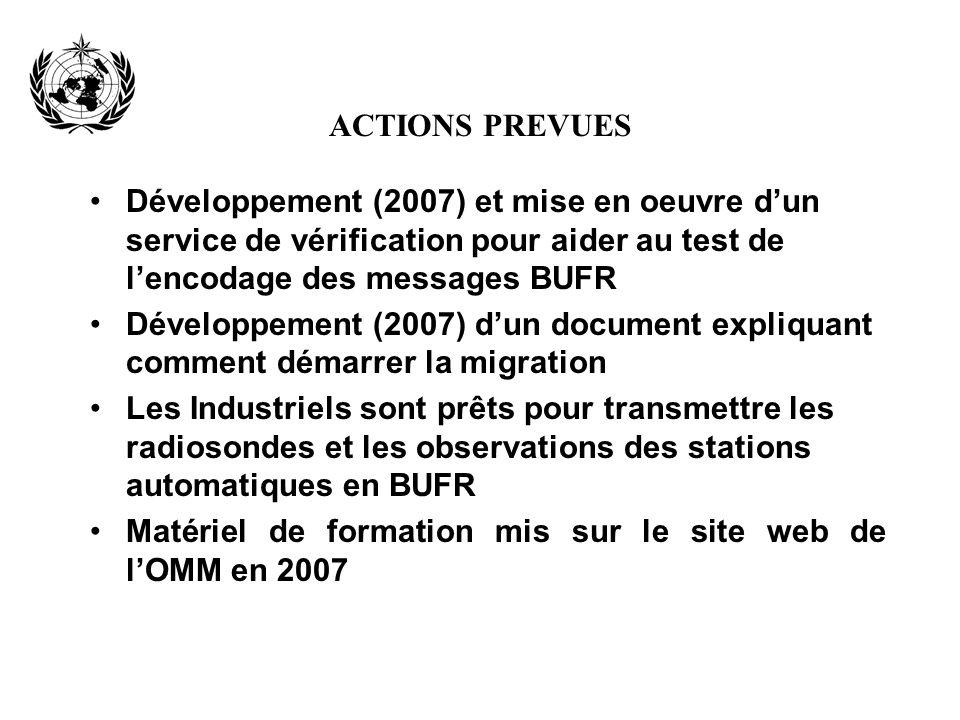 ACTIONS PREVUES Développement (2007) et mise en oeuvre dun service de vérification pour aider au test de lencodage des messages BUFR Développement (20
