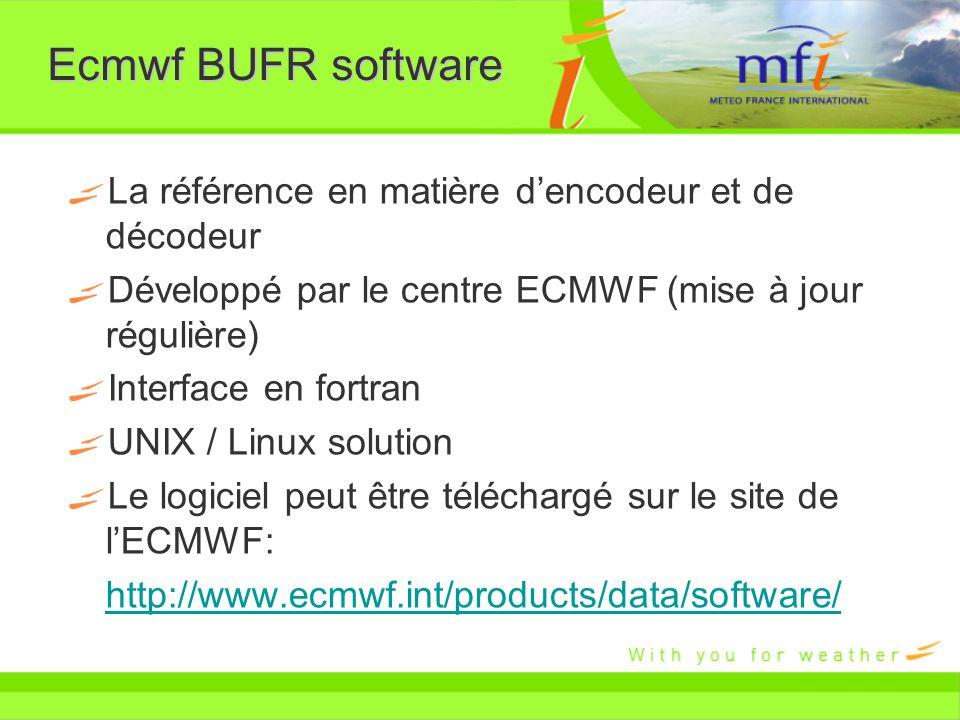 Ecmwf BUFR software La référence en matière dencodeur et de décodeur Développé par le centre ECMWF (mise à jour régulière) Interface en fortran UNIX /