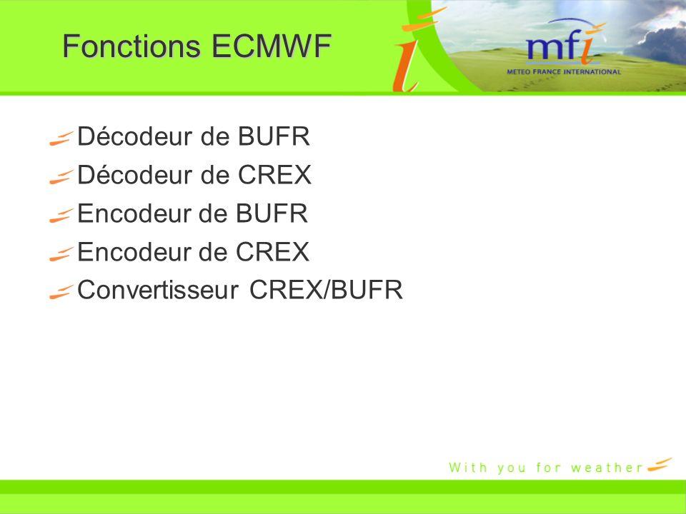 Fonctions ECMWF Décodeur de BUFR Décodeur de CREX Encodeur de BUFR Encodeur de CREX Convertisseur CREX/BUFR