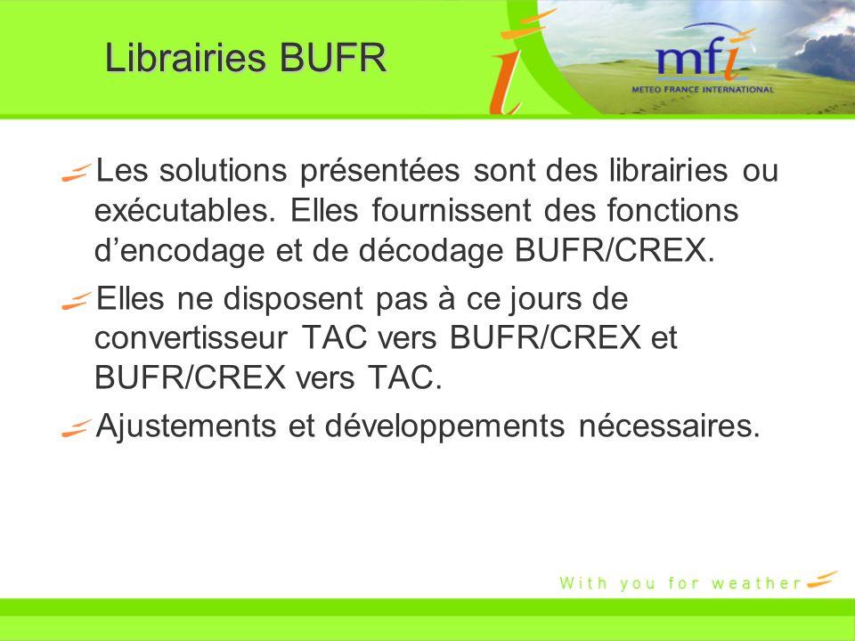Librairies BUFR Les solutions présentées sont des librairies ou exécutables. Elles fournissent des fonctions dencodage et de décodage BUFR/CREX. Elles